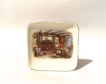Vintage 1920s 'Darby and Joan' Devoted Married Couple Ashtray Lancaster Bone China Graphic Tray/Dish