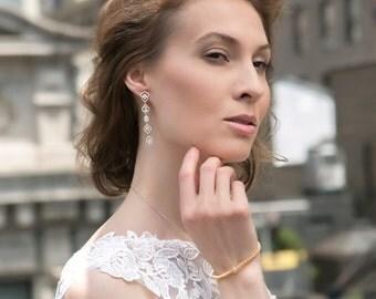 Bridal Earrings, Wedding Long drop Earrings, Bride jewelry, Wedding Earrings, gold earrings, long drop earrings, wedding gift E145G