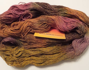 Blue Heron HEATHER Fine to Sport Weight Hand Dyed Cotton Blend Yarn Huge 8 oz 650 Yard Skein in Curry (Yellow Pink Orange w/ Blue +) Vegan