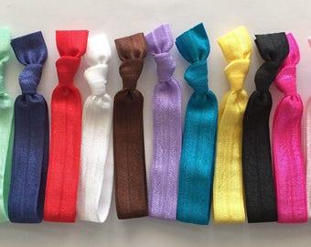 Hair Ties, Fold Over Elastic, FOE, Hair Tie Material, Stretchy Soft Hair Ties, Hair Ties, No Crease Pony Tail Holders by KC Elastic Ties