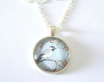 Vintage Bird Necklace, Antique Bird Picture Necklace, Bridesmaid Pendant, Whimsical Jewelry