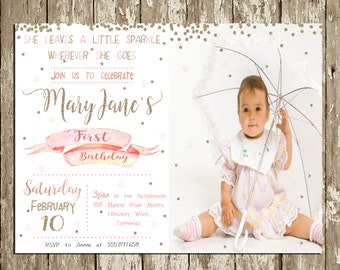 Girl Birthday Invitation Pink and gold Photo Birthday Party Invitation Gold glitter She leaves a litte sparkle Girls 1st Birthday Invitation