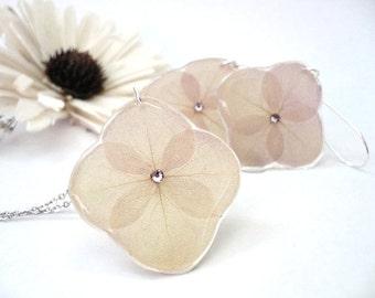 Hydrangea Necklace Set - Hydrangea Jewelry  - Hydrangea Earrings - Pressed Flower Necklace - Swarovski Earrings - Real Flower Jewelry Set