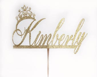 princess cake topper, cake topper, custom name  topper, birthday name topper, gold cake topper, glitter cake topper, party cake topper