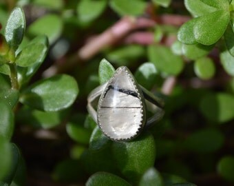 Handmade sterling silver tourmalated quartz ring//size 7