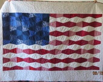 Patriotic Tumbler Flag quilt handmade