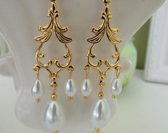 Glass Pearl Chandelier Earrings