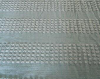 VINTAGE true AQUA w/white pops chenille bedspread piece fat quarter fabric