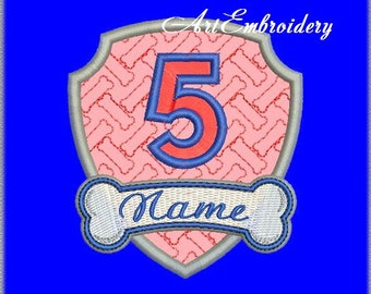 Birthday Badges from # 1 to 10 + Name Applique Embroidery Designs Set for Baby and Children.