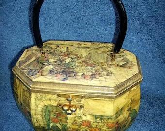 Vintage Anton Pieck  Box Purse,Ladies Box Purse, Decoupage Box Purse