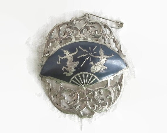 Large Siam sterling silver and enamel brooch, Nielloware, figures of God and Goddess, safety chain, hand made, 9 grams, mid 20th century