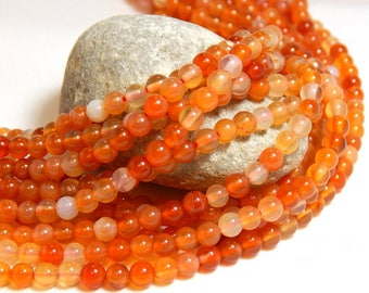 4mm Red Orange Carnelian, 4mm Orange Agate,  Carnelian, 4mm Carnelian, Small Beads, Natural Gemstones, 4mm Agate Beads, Tiny Beads, B-19C