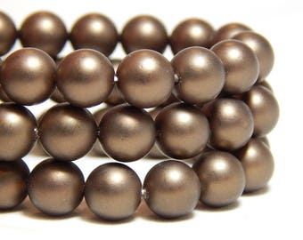 8mm Coco Brown Shell Pearls, 8mm Brown Pearls, 8mm Brown Beads, Matte Brown Beads, Coco Brown Beads, 8mm Shell Pearls, Frosted Beads, B-56D