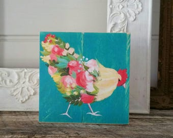 Floral teal rooster artwork on wood - print of original painting - farmhouse decor
