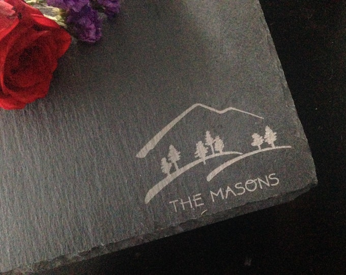 Personalized Slate Cheese Board - Real Estate Closing Gift, Mountain Gift, Hiking Gift