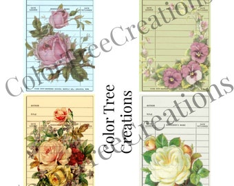 Floral library cards digital download printable