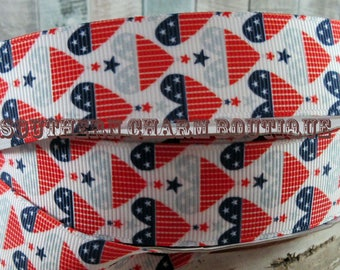 "3 yards of 1"" flag hearts grosgrain ribbon"