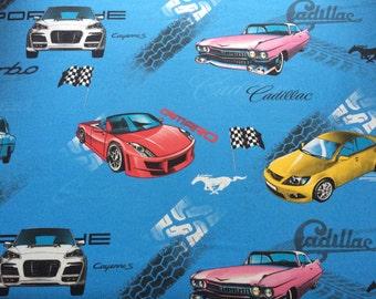 Kids Childrens Scandinavian cotton fabric - Blue Cars Race - Lightweight 100% cotton fabric - 59 inches (150 cm) wide