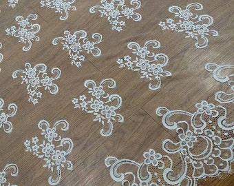 """Chantilly Eyelash lace,off white Lace Fabric by yard   for Wedding Gowns, Bridal Veils, Mantilla,59"""" eyelash lace fabric, black lace fabric"""