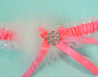 Neon Hot Pink Prom Garter, Custom Color Prom Garter, Garters, Weddings, Bridal Garters, Garters