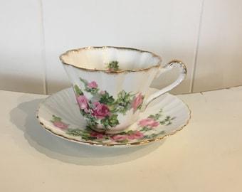 English Pink Roses Tea Cup & Saucer with Gold Gilt