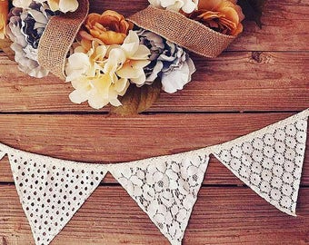 WHITE Lace Banner / Lace Wedding Banner / Lace Bunting / Shabby Lace Banner