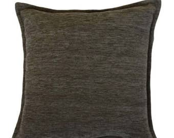 McAlister Textiles Plain Chenille Solid Piped Cushions, Pillows & Covers - 43cm, 49cm, 60cm, 40cm, 50cm w/ Fillers - Grey