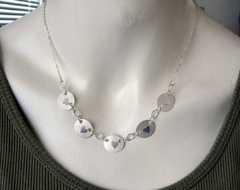 Sterling Silver Necklace with 5 Heart Discs that is Adjustable from 18 to 20.5 Inch