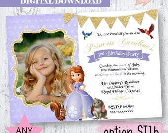 Princess Sofia Invitation.  Princess Sopfia Photo Invitation. Princess Sofia Gold Invitation.Princess Sophia Glitter Photo Invitation.