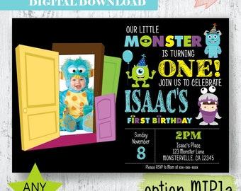 Monster Photo Birthday Invitation. Little Monster Photo Invitation. Monsters Inc photo Invitation. Monster Party Printables. Monsters Photo