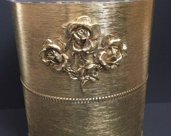 Vintage Footed Matson Trash Can Adorned with  A Cluster Od Three Roses