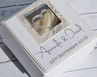 Personalised Wedding Favour Box, silver, ivory, cream and available in any other colour