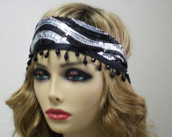 1920s Flapper Headband, Bandeau Headband, Gatsby Headband, Silver and Black, Sequin Headband, 1920s Hair Accessory