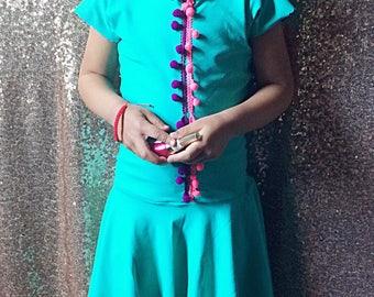 Turquoise pom pom trim dress• baby gurl/toddler girl dress • made to order