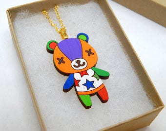 Animal Crossing Villager Stitches Laser Cut Wood Necklace