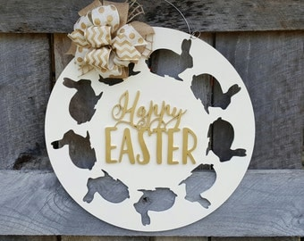 Happy Easter Door Hanger - Easter Bunny Wreath - Easter Wall Hanging