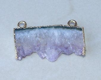 Amethyst Slice - Quartz Crystal Pendant - Purple Colored Natural Crystal Slice Pendant Stone Beads - 19mm x 39mm - 490