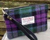 Harris tweed Wristlet clutch bag in MacArthur tweed with detachable wrist strap