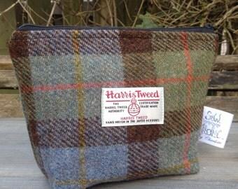 Small harris tweed cosmetic bag zip storage bag