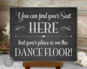 Find Your Seat Here, Chalkboard, Seating Assignment, Printable Wedding Sign, Digital (#FND1C)