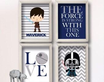 Baby Boy Star Wars Nursery Art- Boy Room Decor -- Star Wars Decor - Baby Shower Gift - Nursery Play Room - Boy Wall Art-BR105