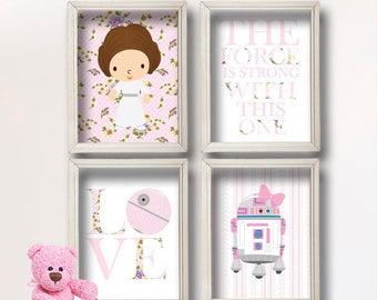 Baby Girl Star Wars Nursery Art- Girl Room Decor Shabby Chic - Star Wars Decor - Baby Shower Gift - Nursery Girl   GR-127 Pink