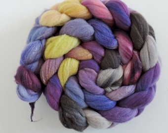 Rambouilett Soysilk,Lady Violet, top, handpainted fiber for spinning, 115g