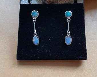 Lovely silver Australian Doublet Opal earrings with different size stones