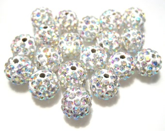10pcs White AB Polymer Clay Rhinestone Beads Pave Disco Ball Beads 10mm - Grade AAA