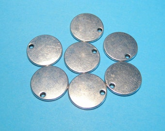 10pcs Antique Silver Round Charms Pendants Blank Tags 17mm