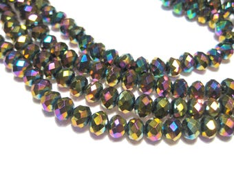 1 Strand Electroplate Rainbow Rondelle Faceted Glass Beads 6x4mm