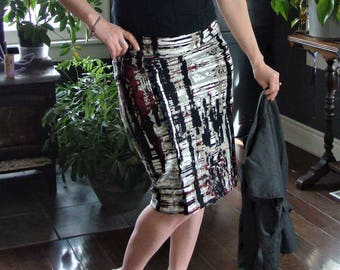 """Red and Black Pencil skirt - """"painted"""", tango"""