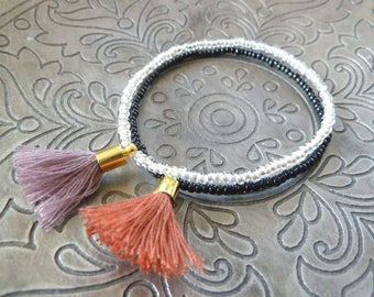 Orient zartes Perlenarmband Set mit Quaste Freundschaftsarmband