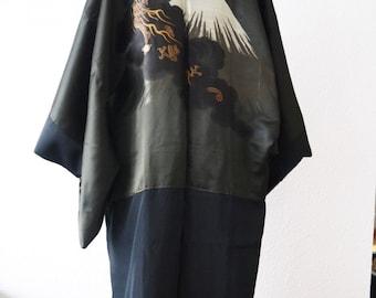 Mens Kimono Black Haori Kimono jacket/shiny khaki olive green / Fujiyama/Black jacket/ formal kimono/mount fuji/family crest/reversible